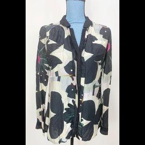Desigual Silk Button Down Blouse Floral Large